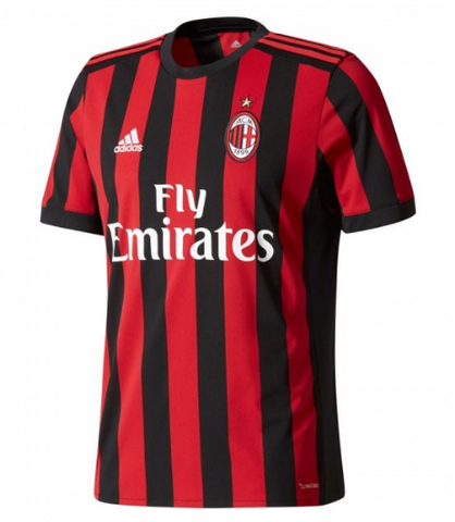 Personalize Your 2017-18 Season adidas Men's AC Milan Club Team Home Jersey - Red