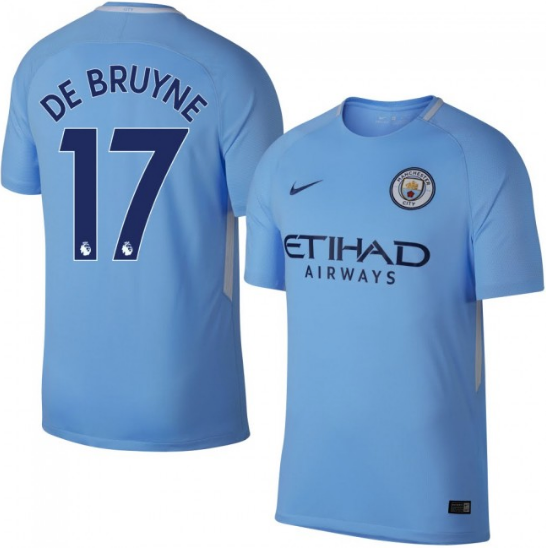 2017-18 Season Nike Men's De Bruyne #17 Manchester City Club Team Home Jersey - Blue - La Vinotinto Shop