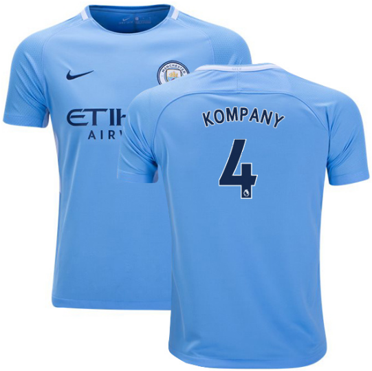 2017-18 Season Nike Men's Kompany #4 Manchester City Club Team Home Jersey - Blue - La Vinotinto Shop