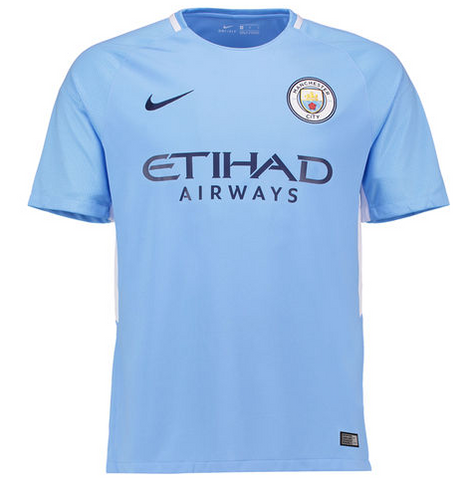 Personalize Your 2017-18 Season Nike Men's Manchester City Club Team Home Jersey - Blue