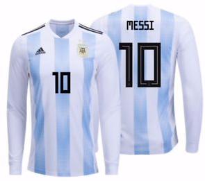 2018 World Cup adidas Messi #10 Argentina Long Sleeve Home Jersey