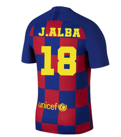 2019-20 Season Barcelona Club Nike Men's Jordi Alba #18 Team Home Jersey
