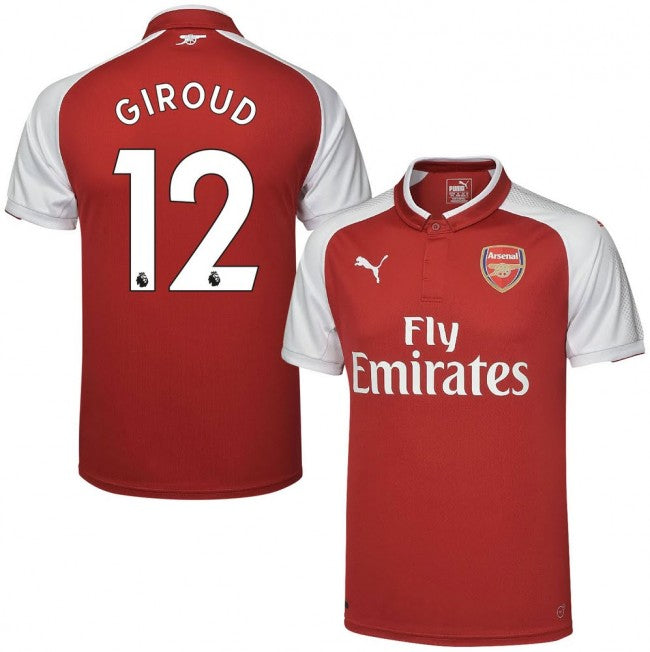 2017-18 Season Puma Men's Giroud #12 Arsenal FC Club Team Home Jersey - Red - La Vinotinto Shop