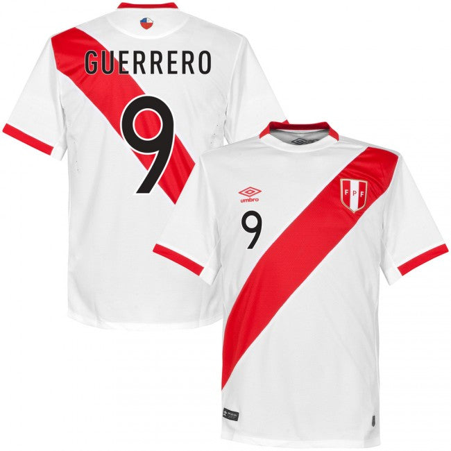 2018 World Cup Guerrero #9 Peru National Team Home Jersey - Umbro - La Vinotinto Shop