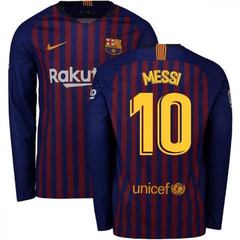 2018-19 Season Nike Men's Messi #10 Barcelona Long Sleeve Club Team Home Jersey