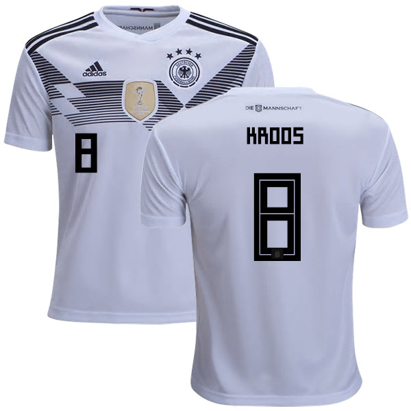 2018 World Cup adidas Kroos #8 Germany National Team Home Jersey - White - La Vinotinto Shop