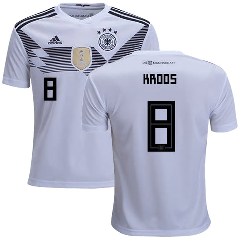 2018 World Cup adidas Kroos #8 Germany National Team Home Jersey - White