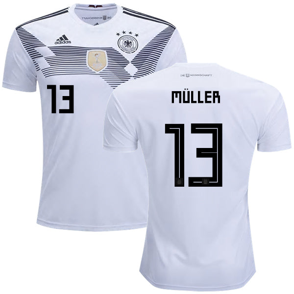 timeless design 5d35e cdccc 2018 World Cup adidas Müller #13 Germany National Team Home Jersey - White