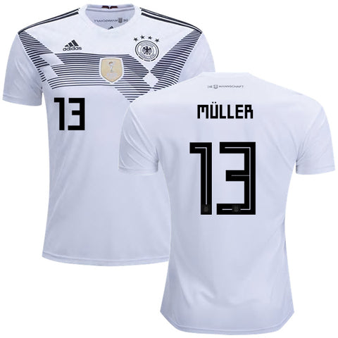 2018 World Cup adidas Müller #13 Germany National Team Home Jersey - White