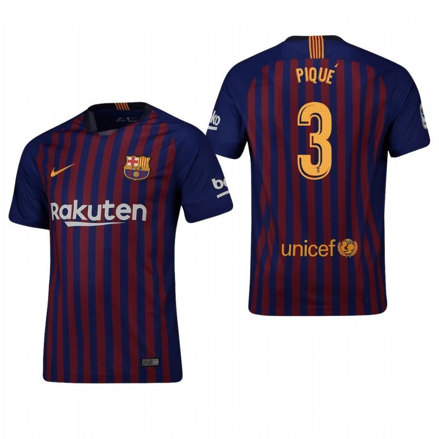 2018-19 Season Nike Men's Pique #3 Barcelona Club Team Home Jersey - La Vinotinto Shop