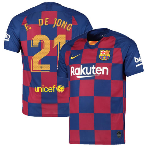 2019-20 Season Barcelona Club Nike Men's F. de Jong #21 Team Home Jersey