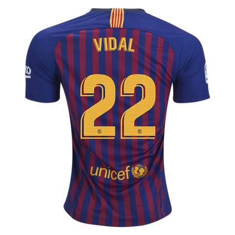 2018-19 Season Nike Men's Vidal #22 Barcelona Club Team Home Jersey