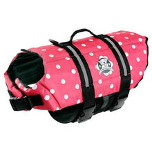 Load image into Gallery viewer, Paws Aboard PInk Polka Dot Doggie Life Jacket