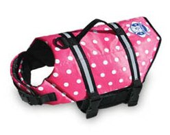 Paws Aboard Life Jacket Pink Polka Dot