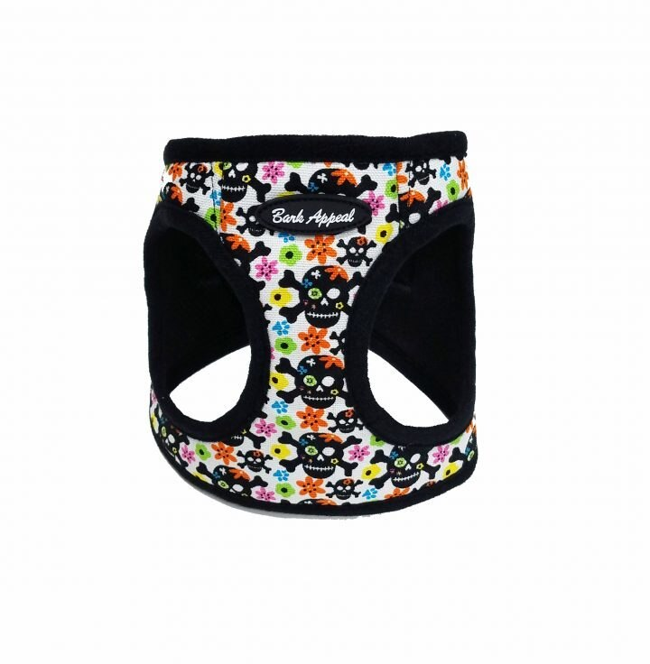 Bark Appeal SKULL & FLOWERS CANVAS-MESH STEP IN HARNESS