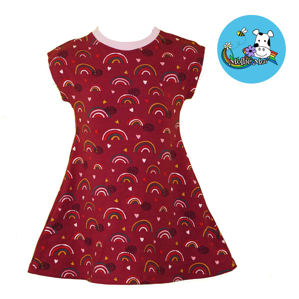 Organic Maroon Rainbow Jersey T-Shirt Dress