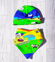 Organic Rainbow Jersey Hat and Bib Set