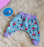 Blue Flower Harems - purple cuffs