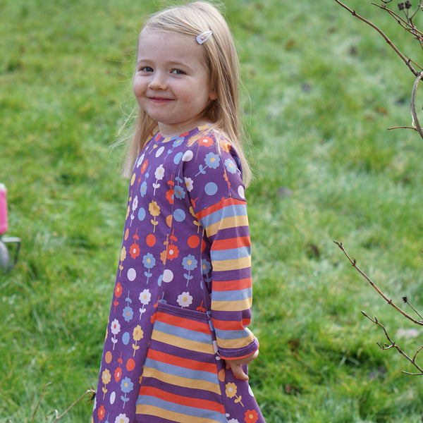 Bumba Dress - Retro Flowers and Stripes