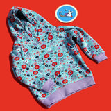 Blue Floral Hoody - Purple Cuffs