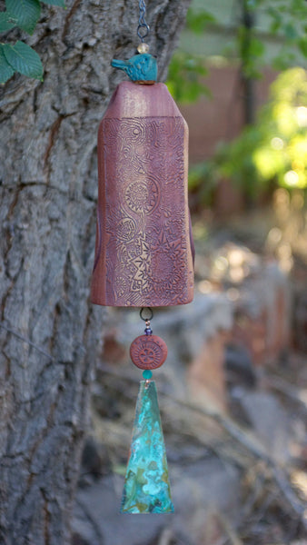Bereavement Gift Wind Chime with Bird Sculpture - EarthWind Stoneware