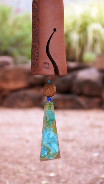 Ceramic Wind Chime Garden Bell with Circle Pattern, Copper Bell and Bird Accent, Rustic Garden Decor - EarthWind Bells