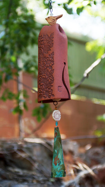 Ceramic Wind Chime Garden Bell with Floral Pattern, Copper Bell and Bird Accent, Rustic Garden Decor - EarthWind Stoneware