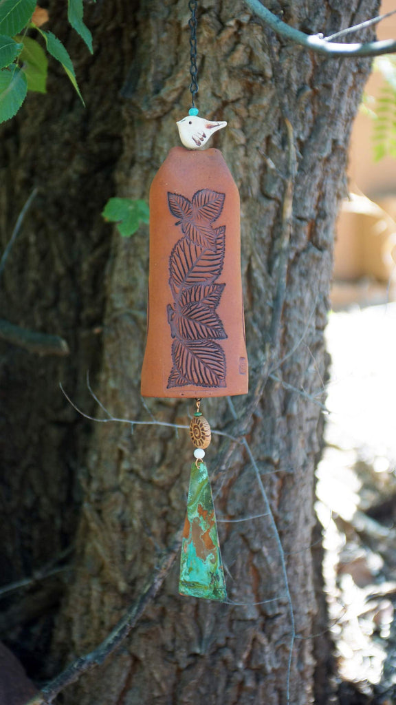 Ceramic Wind Chime Garden Bell with Leaves Pattern, Copper Bell and Bird Accent, Rustic Garden Decor - EarthWind Stoneware