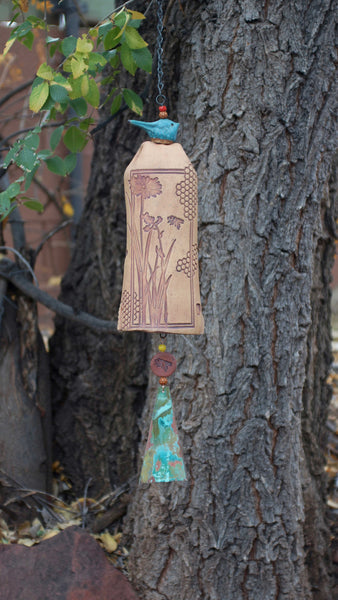 Ceramic Wind Chimes Garden Art, Honeycomb Bee Pattern, Copper Wind Sail & Sculptured Bird Accent - EarthWind Stoneware