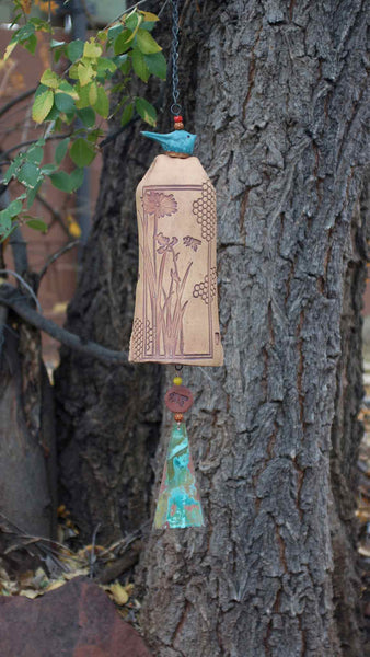 Ceramic Wind Chime Garden Art, Honeycomb Bee Pattern, Copper Wind Sail & Sculptured Bird Accent - EarthWind Stoneware