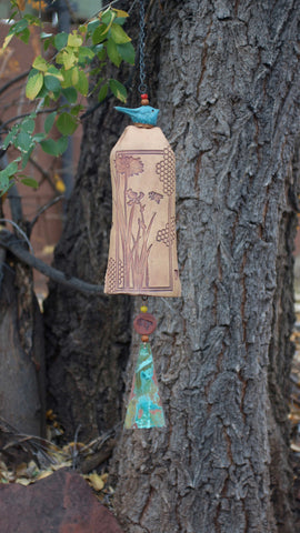 Ceramic Wind Chimes - Outdoor Garden Art with a Honeycomb Bee Pattern - EarthWind Bells