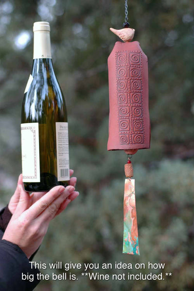 Handmade Wind Chime Garden Bell with Starburst Pattern, Bird Sculpture Garden Art, Garden Decor - EarthWind Stoneware