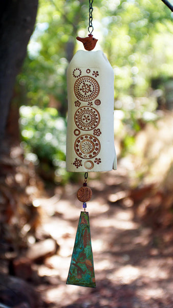 Ceramic Wind Chime Garden Bell with Circle Pattern - Rustic Garden Decor - EarthWind Bells
