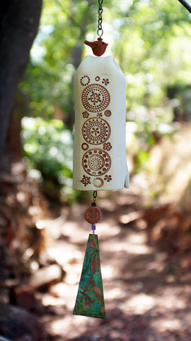 Ceramic Wind Chime Garden Bell with Circle Pattern, Copper Bell & Bird Accent, Rustic Garden Decor
