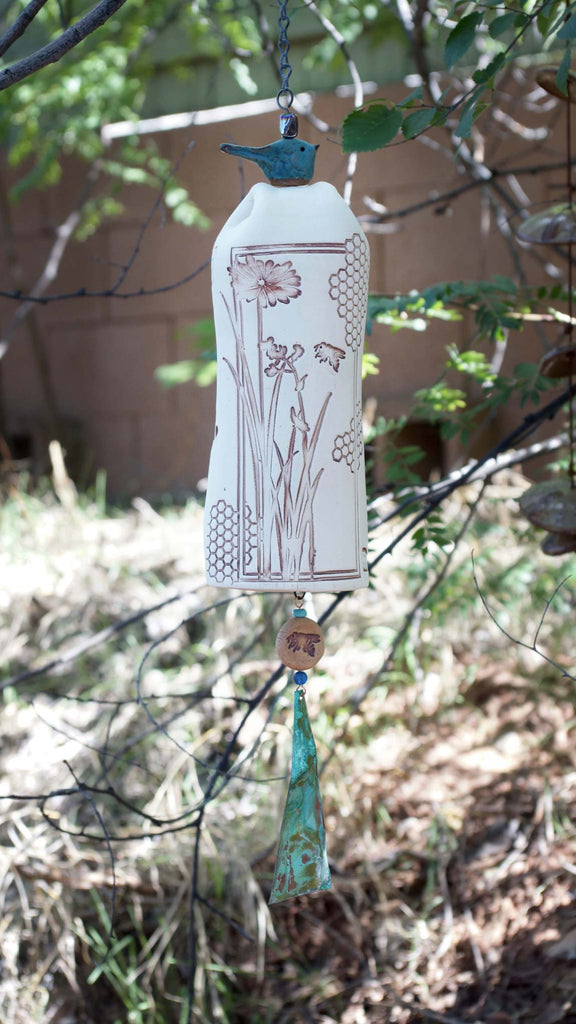 Ceramic Wind Chime Garden Bell, Honeycomb Bee Pattern, Copper Wind Sail & Sculptured Bird Accent - EarthWind Stoneware