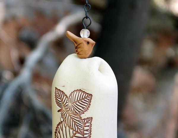 Ceramic Wind Chime Garden Bell with Leaves Pattern, Copper Bell and Bird Accent, Rustic Garden Decor