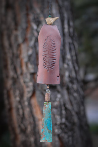 Ceramic Wind Chime Garden Bell with Leaf Pattern, Patina Copper Wind Sail, Bird Sculpture Garden Art - EarthWind Stoneware