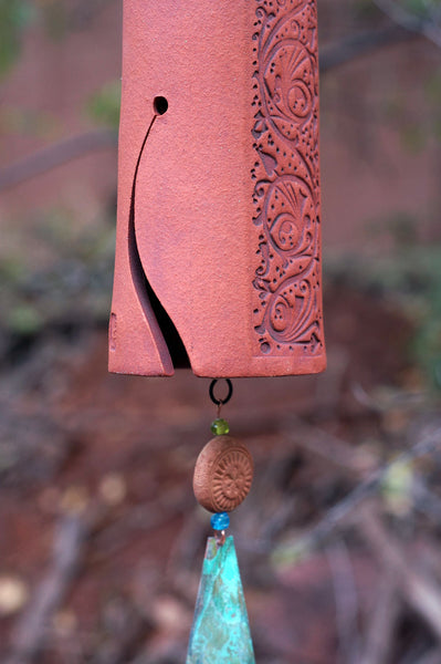 Handmade Ceramic Wind Chime Garden Bell, Vines Pattern, Copper Wind Sail, Bird Sculpture Garden Art - EarthWind Stoneware