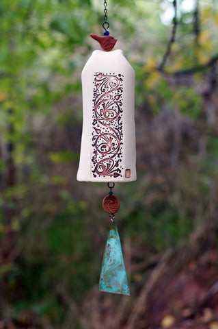 Ceramic Wind Chimes, Pottery, Garden Bell, Copper Bell Chime and Bird Sculpture Accent, Garden Decor - EarthWind Stoneware