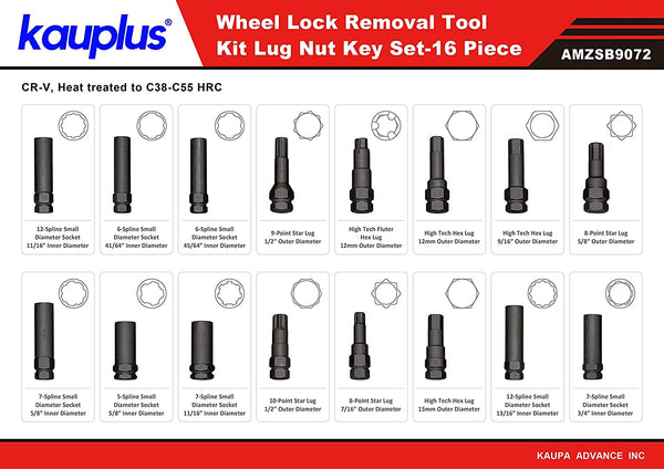 16PCS Wheel Locking Lug Master Key Set- Wheel Lock Lug Nut Master Key Set-by Kauplus