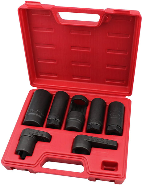 Kauplus 7PCS Master Sensor Socket Kit O2 Oxygen Sensor Wrench Socket Set
