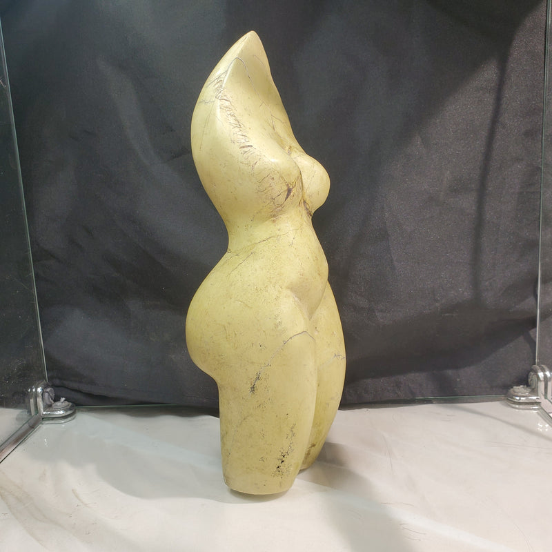 """African Goddess"" in Yellow Serpentine, Signed Sculpture By Joseph Marufu from Canon Paterson Craft Society, Mbare, Zimbabwe"