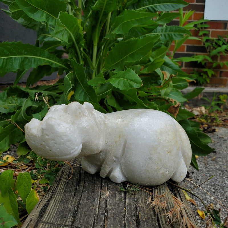 """Serene Hippopotamus"" Shona Sculpture in Dolomite, from the Chitungwiza Art Cetre in Zimbabwe"