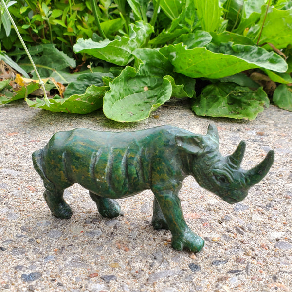"""Rhinoceros Figure"" Shona Sculpture in Verdite, from the Chitungwiza Art Centre, Zimbabwe"