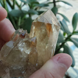 59g Self-Standing, Orange Flecked Kundalini Quartz Citrine, Democratic Republic of Congo, Lwena, Congo Citrine