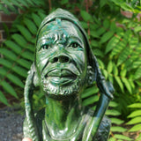 """Pondering Chief"" in Verdite, signed by Simbai Kamombo, Shona Sculpture from Canon Paterson Craft Society, Mbare, Zimbabwe"