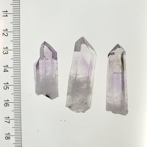 23.21 g Brandberg Quartz Set of 3 With Purple Phantoms From Namibia