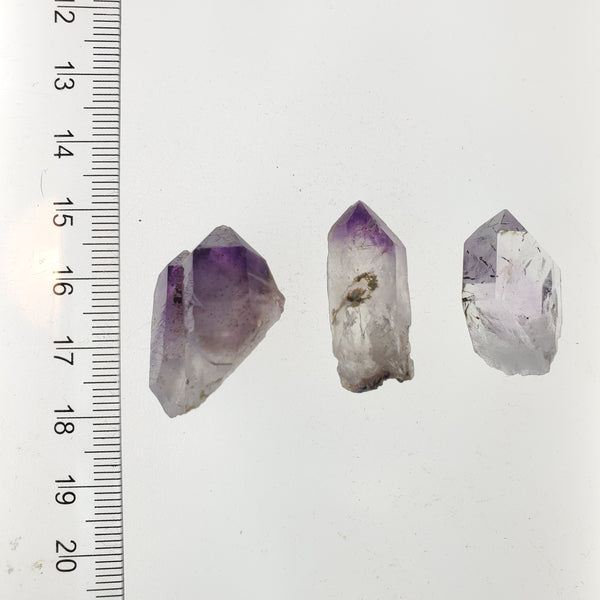15.26 g Brandberg Quartz Set of 3 With Purple Phantom From Namibia