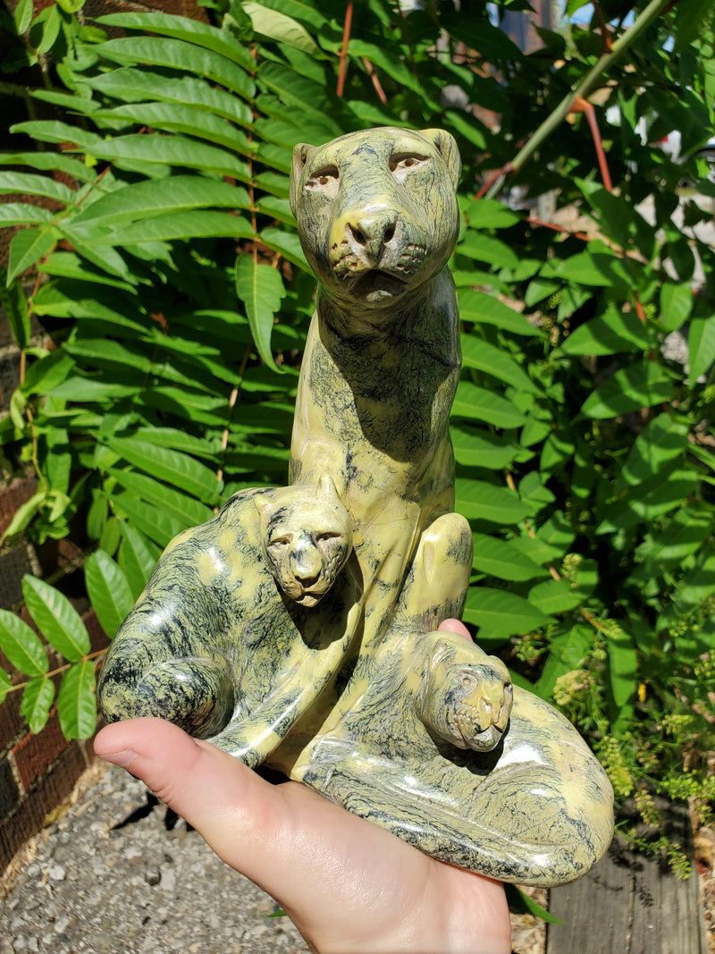 """Leopard and her Offspring"" in Serpentine, signed by Micheal Kakweza, Shona Sculpture from Canon Paterson Craft Society, Mbare, Zimbabwe"