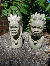 """Hunter and Huntress"" set of 2 Busts, Butter Jade, signed by Farai Mangenda, Shona Sculpture from Canon Paterson Craft Society, Mbare, Zimbabwe"